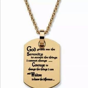 Jewelry - Serenity Prayer Dog Tag Necklace AA Gold SS